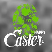 Happy Easter Typographical blurred Background with ornate egg
