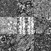 The set of 9 geometric monochromatic abstract zentangle seamless patterns