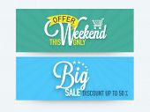 Big sale website header or banner set with discount offer only for this weekend for your business.