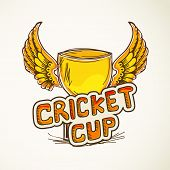 Golden winning cup with wings for Cricket.