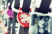 Heart Shaped Love Padlocks, Closeup