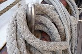 picture of tall ship  - Ropes on deck of an old tall - JPG