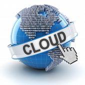 Cloud technology symbol with digital globe, 3d render
