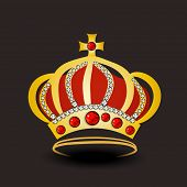 Golden stylish royal crown decorated with jewel on dark brown background.