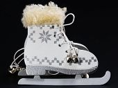 stock photo of skate  - white ice skate Christmas Ornament Christmas skates - JPG