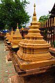 Golden pagoda in row