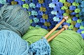 stock photo of green-blue  - Yarn crafts - JPG