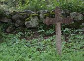 pic of tombstone  - Tombstone on a ruined graveyard in Sweden - JPG