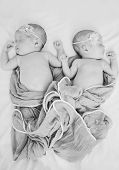 image of identical twin girls  - two seewr lovely newborn twins are sleeping - JPG