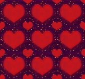 Hearts With Stars Grunge Style Pattern