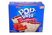 Lake Forest CA - February 3, 2015: packet of Kellog's POP tarts frosted strawberry toaster pastries -illustrative editorial   Isolated on white with room for your text