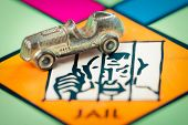 LONDON,UK - FEBRUARY 11, 2015 : Car token next to the JAIL space in a Monopoly game board