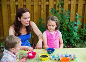 Dyeing Easter Eggs Outside With Mom