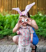 Little Boy Wearing Bunny Ears And Silly Egg Eyes