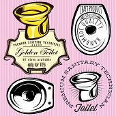 Set Of Elements For Making logo With Toilet Bowl