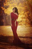 Beautiful girl in autumn garden