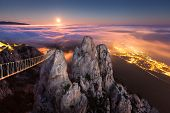 Mountain Ai-Petri. Night, Full Moon in Crimea