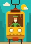 foto of tram  - Comic tram driver - JPG