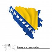 Map of Bosnia and Herzegovina with flag - vector illustration