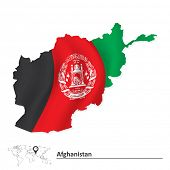 Map of Afghanistan with flag - vector illustration