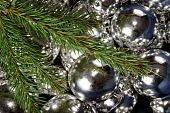 Christmas ornaments and pine branch