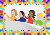 Colorful pencils frame with children. Vector illustration