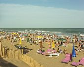 People In Pinamar Beach In Argentina
