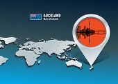 Map pin with Auckland skyline - vector illustration