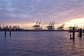 Hamburg - Port Of Hamburg In The Evening