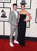 LOS ANGELES - FEB 08:  Nick Jonas & Olivia Culpo arrives to the Grammy Awards 2015  on February 8, 2015 in Los Angeles, CA