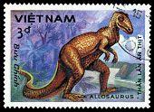 Vintage  Postage Stamp. Allosaurus.