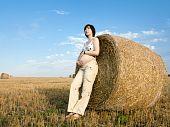 Pregnant Woman Is Staying Near Bales On The Field