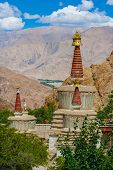 Buddhist Stupas In Hemis Monastery, Ladakh, Northern India