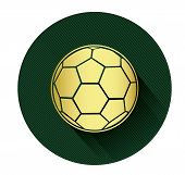 Golden soccer ball icon with long shadow effect