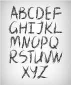 vector set of handwritten font