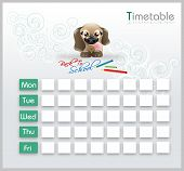 Timetable With Cute Puppy