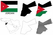 Jordan - Flag, four vector map contours and Middle East map
