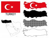 Turkey - Flag, four vector map contours and Middle East map