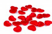 Several Small Red Hearts Tissue On A White Background