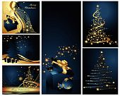 stock photo of merry christmas  - Merry Christmas and Happy New Year collection blue and gold - JPG