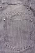 Close Up Of Grey Jeans Back Pocket