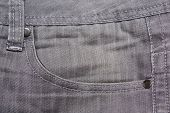 Close Up Of Grey Jeans Pocket