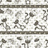 background of the cats and fish bones