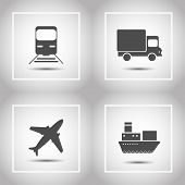 Transportation And Delivery Icons Flat Set