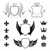 Set of winged shields - coat of arms - heraldic design elements, fleur de lis and royal crowns
