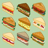 picture of tomato sandwich  - Sandwich variety parade vector illustration for restaurant - JPG