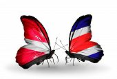 Two Butterflies With Flags On Wings As Symbol Of Relations Latvia And  Costa Rica