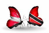 Two Butterflies With Flags On Wings As Symbol Of Relations Latvia And Trinidad And Tobago