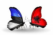 Two Butterflies With Flags On Wings As Symbol Of Relations Estonia And Albania