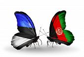Two Butterflies With Flags On Wings As Symbol Of Relations Estonia And Afghanistan
